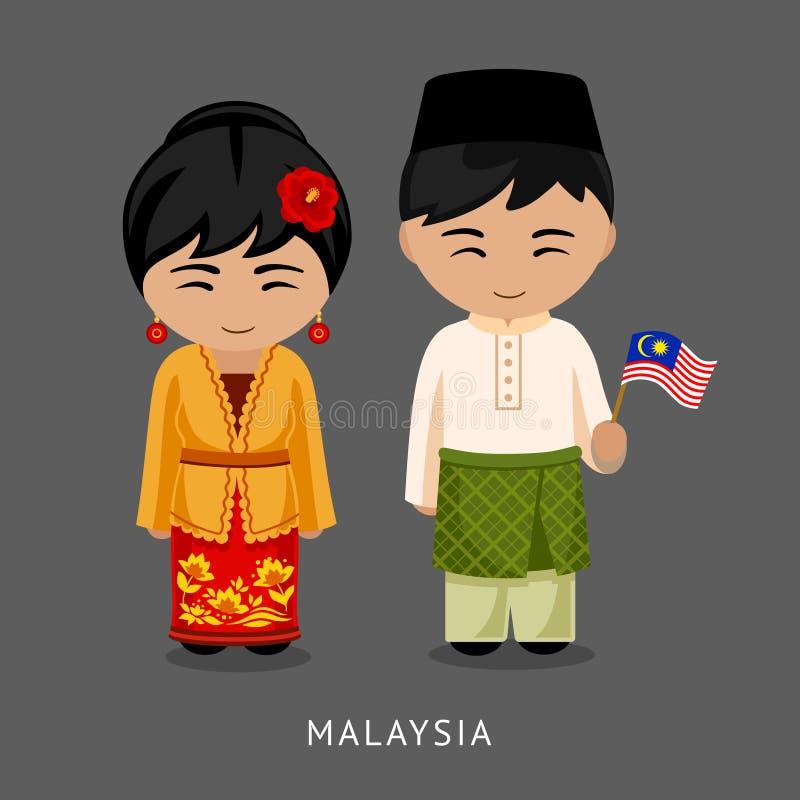 Malaios no vestido nacional com uma bandeira ilustração royalty free