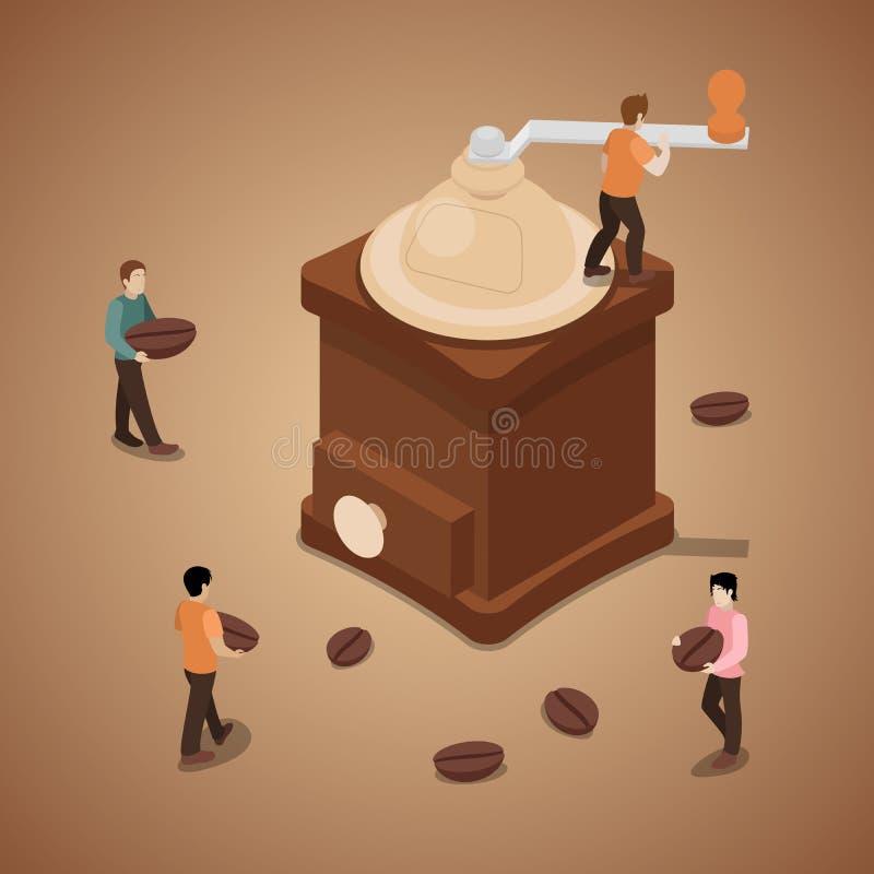 Malande kaffebönor för miniatyrfolk i maskin stock illustrationer