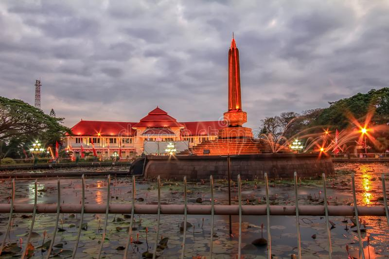 Beautiful Malang Tugu Square or KM 0 Malang With Beautiful Park at the Night. stock photos