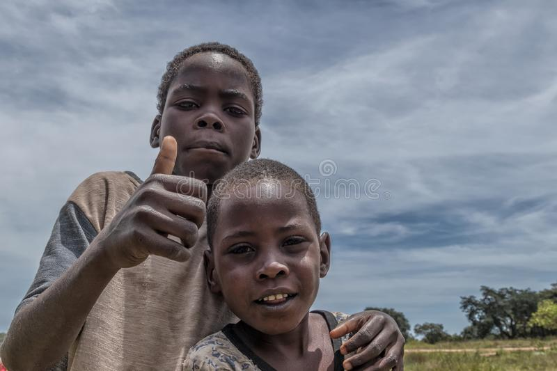 MALANJE/ANGOLA - 10 MAR 2018 - Portrait of African boys in the province of Malanje Angola. Africa royalty free stock photos