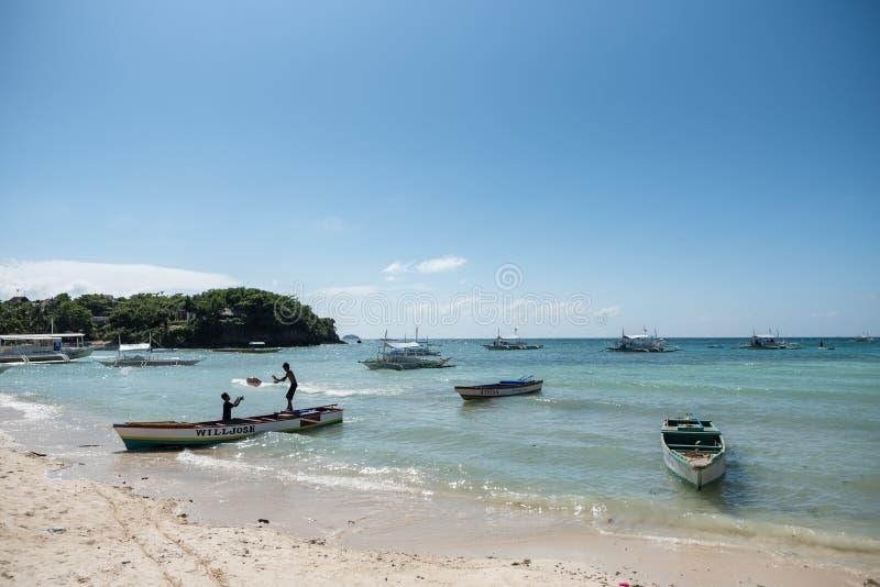 MALAPASCUA, FILIPPINE - 9 FEBBRAIO 2018: Spiaggia in Malapascua immagini stock libere da diritti