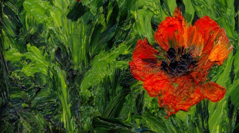 Malarstwo olejne Czerwone maki na polu zdjęcie royalty free