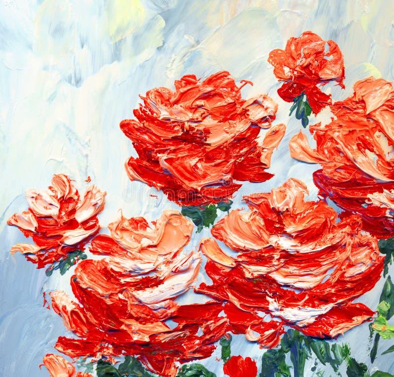 Malarstwo olejne Różowe róże w ogrodzie fotografia royalty free