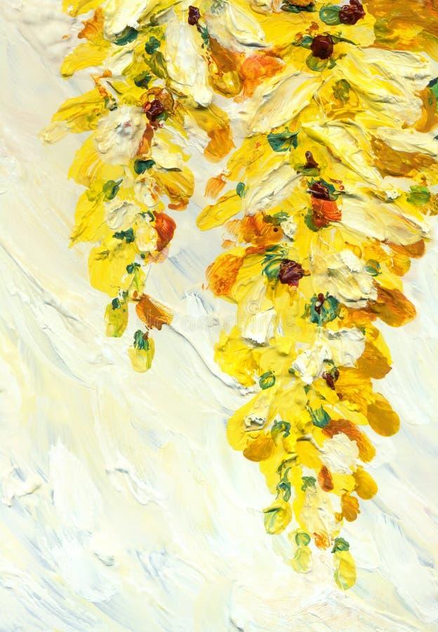 Malarstwo olejne Wisząca gałąź akacji obraz stock