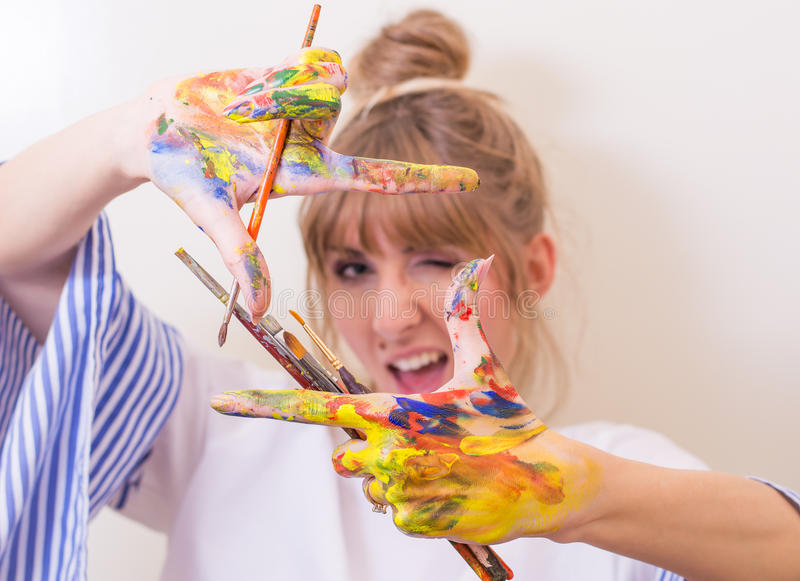 malarz dziewczyna zdjęcie stock