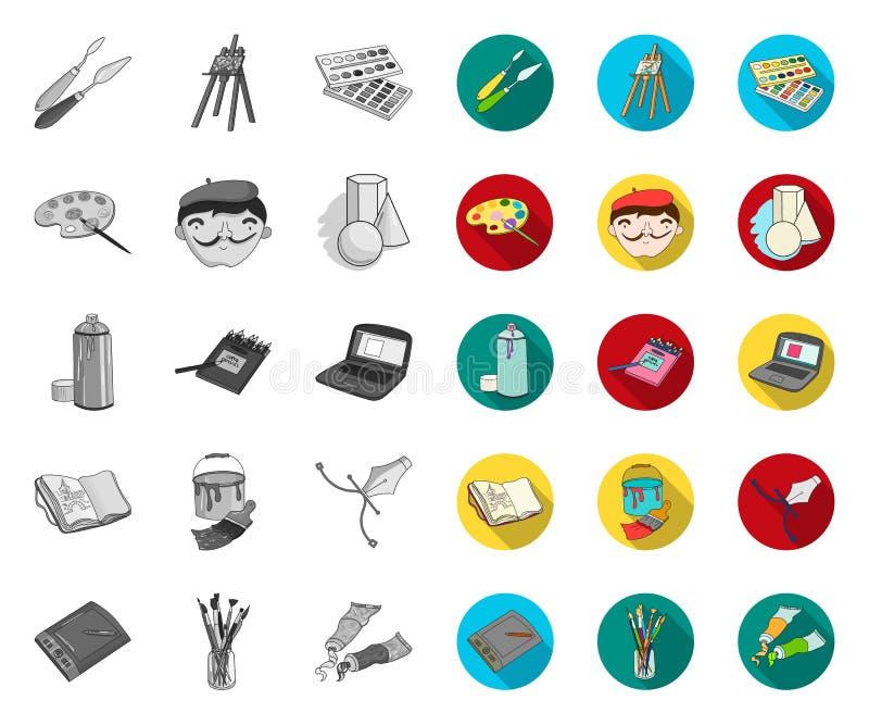 Malarz i rysunek mono, płaskie ikony w ustalonej kolekcji dla projekta Artystycznych akcesori?w symbolu zapasu wektorowa sie? ilustracja wektor