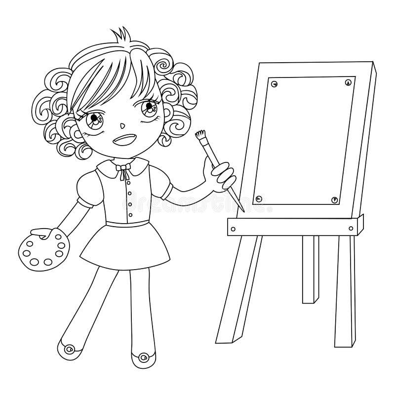 malarza czarny mały biel ilustracja wektor