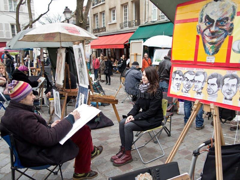 Malarzi na miejscu Du Tertre Paryż fotografia royalty free