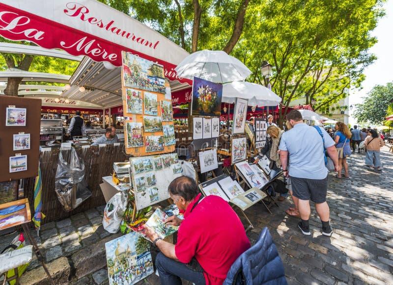 Malarzi przy Montmartre zdjęcie stock