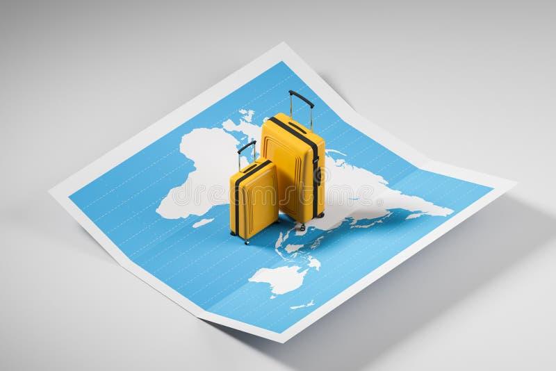 Malas de viagem amarelas no mapa do mundo ilustração royalty free