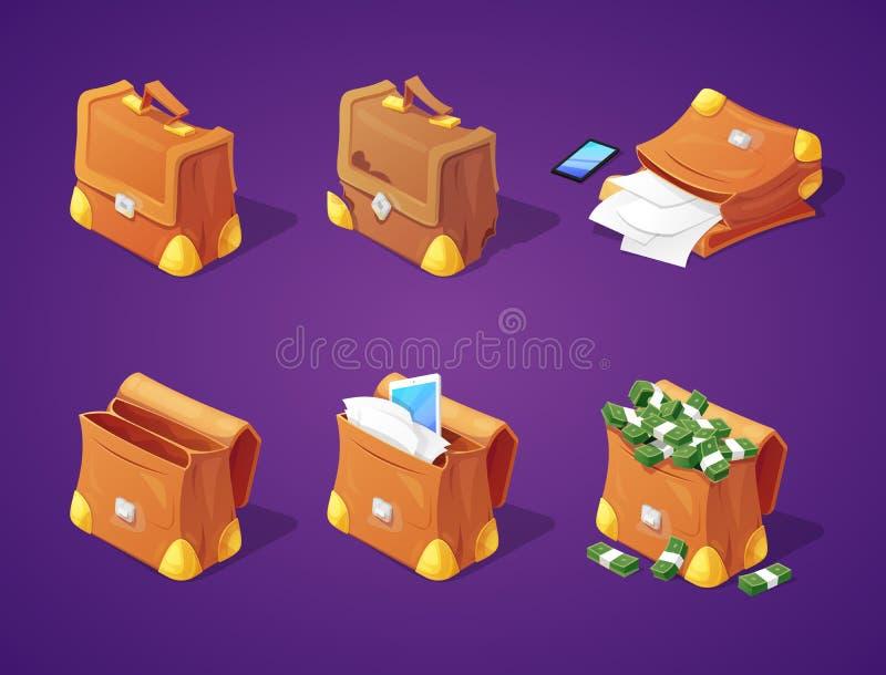 Malas de viagem com dinheiro, papéis e dispositivos para a relação do jogo Cédulas e ícones de originais ilustração stock