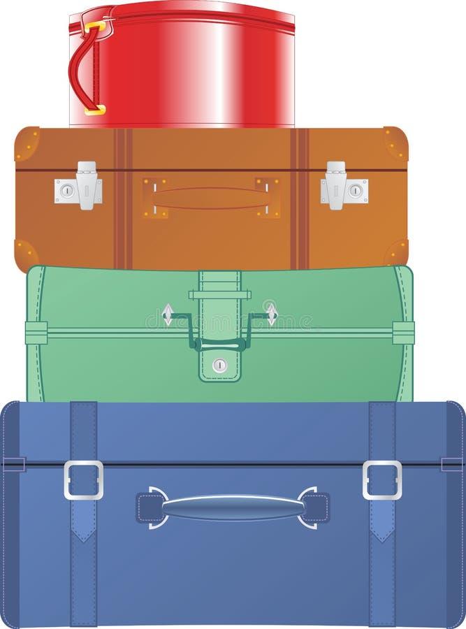 Malas de viagem e sacos do vintage ilustração royalty free