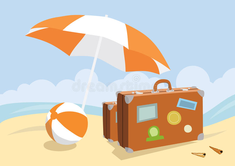 Malas de viagem em uma praia ilustração royalty free