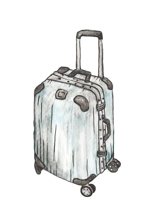 Malas de viagem para o curso no fundo branco, ilustração da aquarela ilustração royalty free