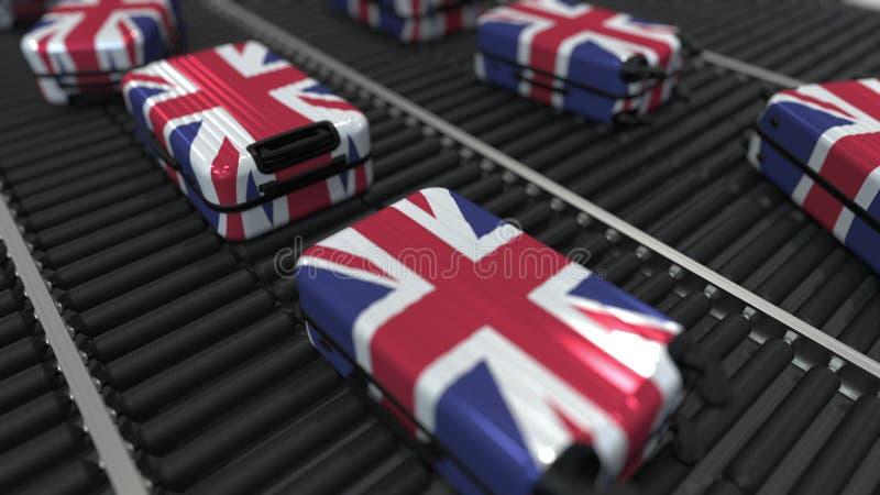 Malas de viagem que caracterizam a bandeira do movimento de Reino Unido no transporte em um aeroporto O turismo britânico relacio ilustração stock