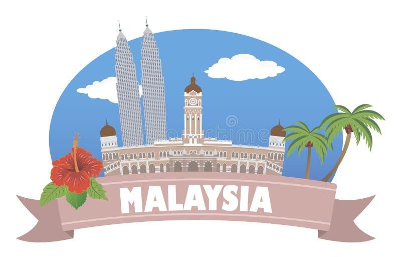 malasia con el foco en los prismáticos ilustración del vector