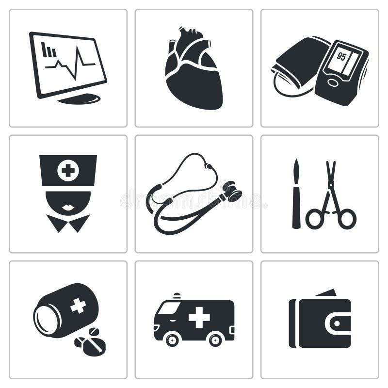 Malattia cardiaca, icone di vettore dell'ospedale messe illustrazione di stock