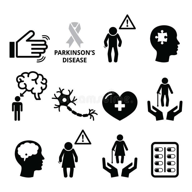 Malattia del Parkinson, icone della salute dell'anziano messe royalty illustrazione gratis