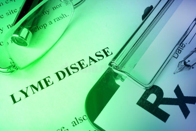 Malattia di Lyme di diagnosi scritta ad una pagina immagine stock