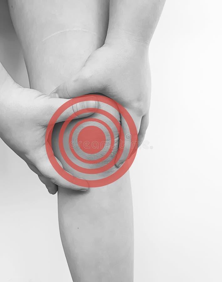 Malattia di sindrome dell'osso di reclamo di infezione di reazione di sintomo di dolore del ginocchio del ragazzo fotografie stock libere da diritti