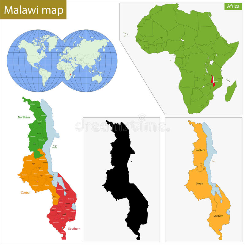 Malawi översikt stock illustrationer