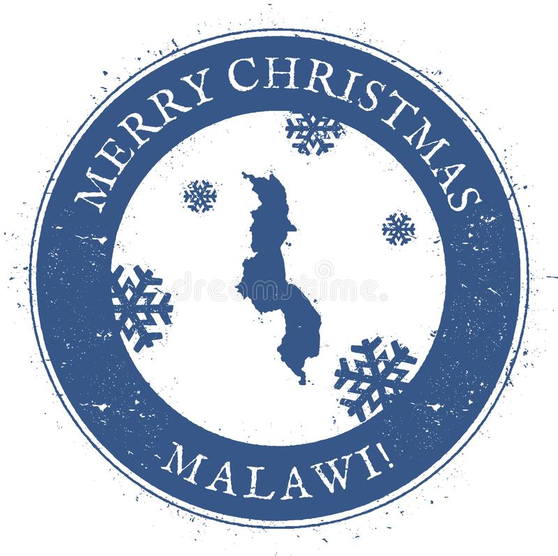 Malawi översikt Malawi för glad jul för tappning stämpel vektor illustrationer