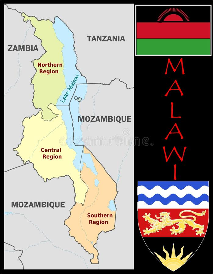 Malawi Administrative Divisions Stock Illustration Illustration of