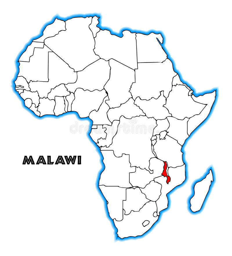 Free Malawi Africa Map Royalty Free Stock Photos - 112725638