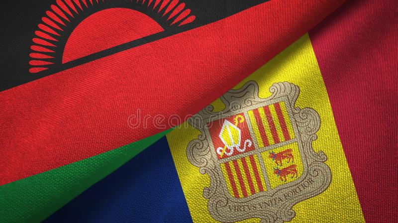 Malawi and Andorra two flags textile cloth, fabric texture. Malawi and Andorra two folded flags together royalty free illustration