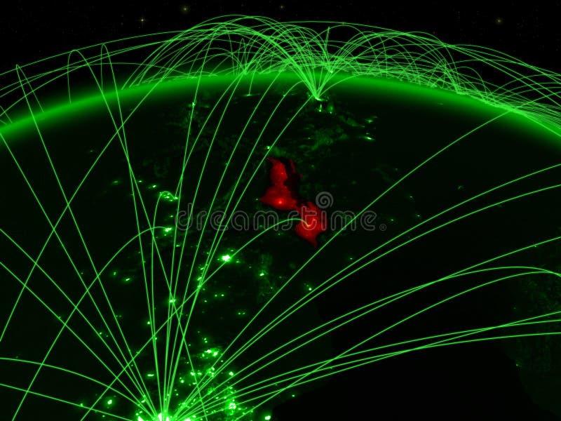Malawi auf grüner Kugel stock abbildung