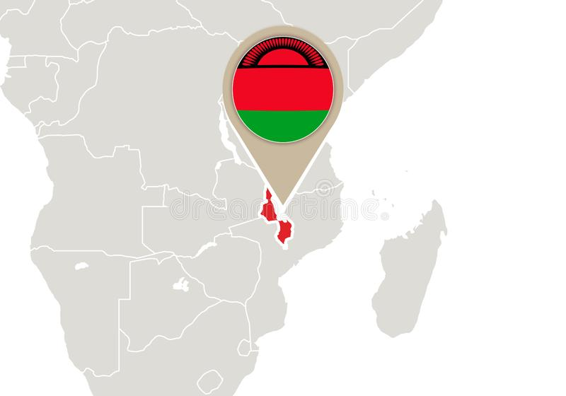 Malawi auf Weltkarte vektor abbildung