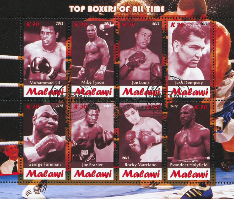 Great boxers. Malawi - CIRCA 2012: stamp printed by Malawi, shows great boxers, circa 2012 stock photos