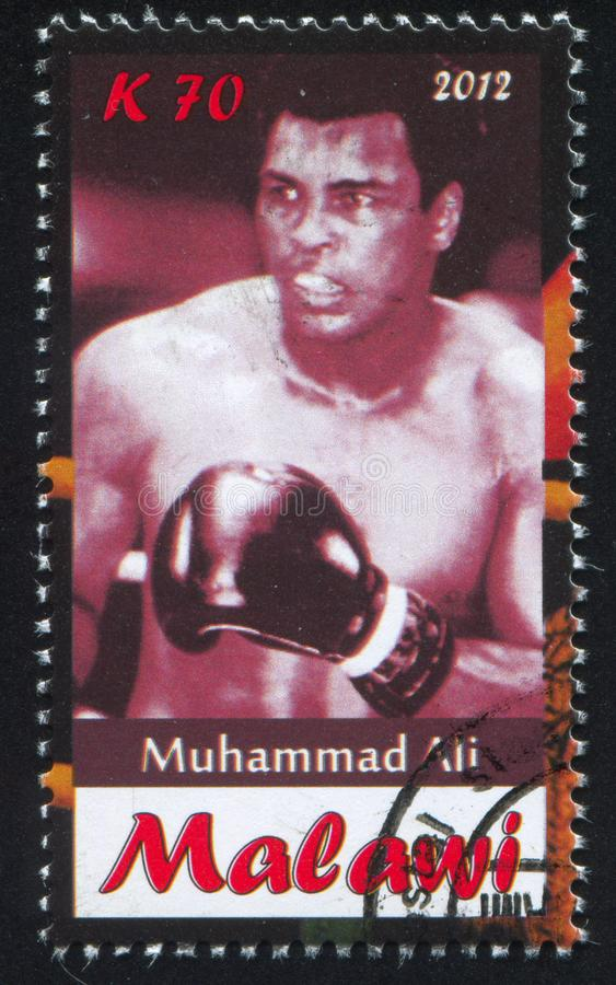 Muhammad Ali. Malawi - CIRCA 2012: stamp printed by Malawi, shows Muhammad Ali, circa 2012 stock photo