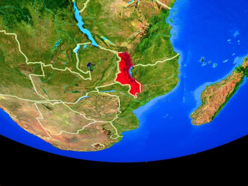 Malawi del espacio en la tierra ilustración del vector