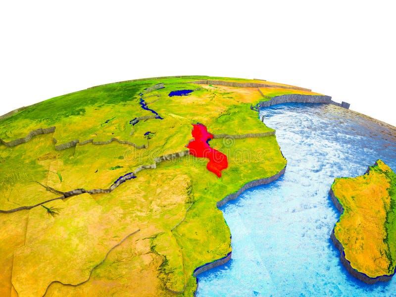 Malawi en la tierra 3D stock de ilustración