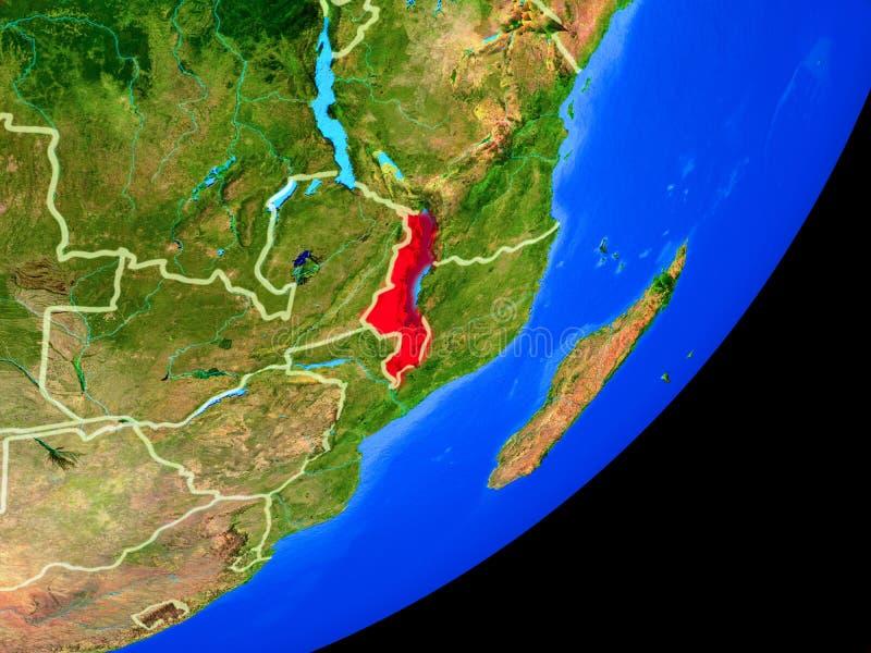 Malawi en la tierra del espacio stock de ilustración