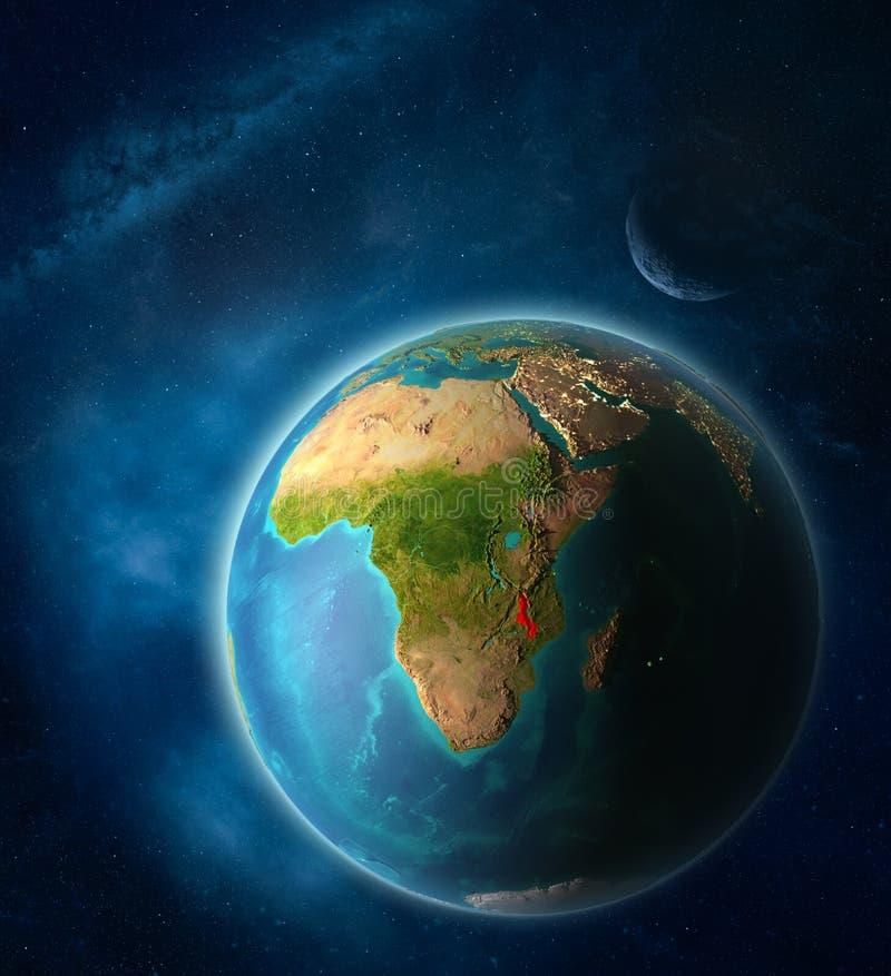 Malawi en la tierra del espacio ilustración del vector