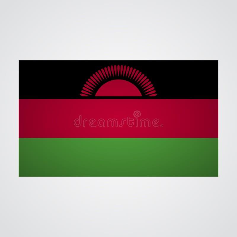 Malawi flagga på en grå bakgrund också vektor för coreldrawillustration vektor illustrationer