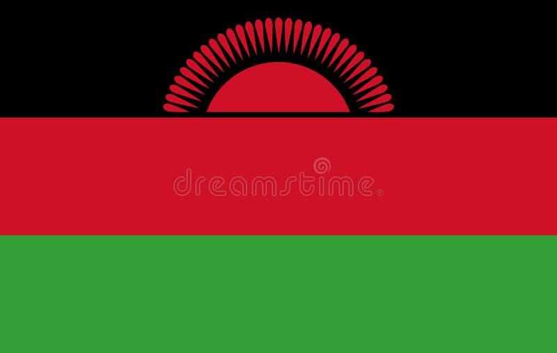 Malawi flaggaillustration, Malawi flaggabild, Malawi flaggabild stock illustrationer
