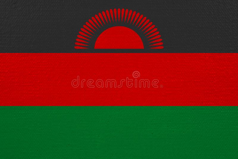 Malawi-Flagge auf Segeltuch stock abbildung