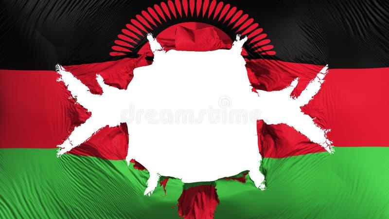 Malawi-Flagge mit einem großen Loch stock abbildung