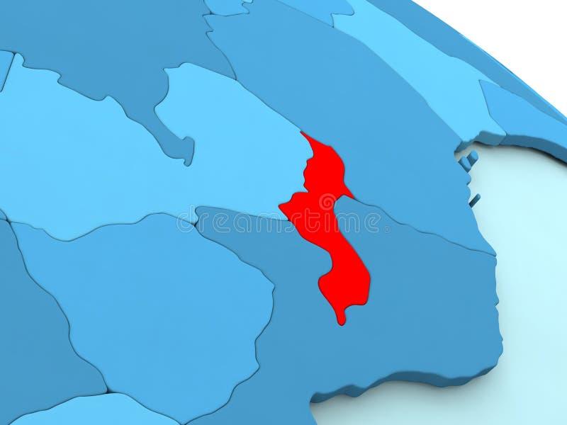 Malawi i rött på det blåa jordklotet royaltyfri illustrationer