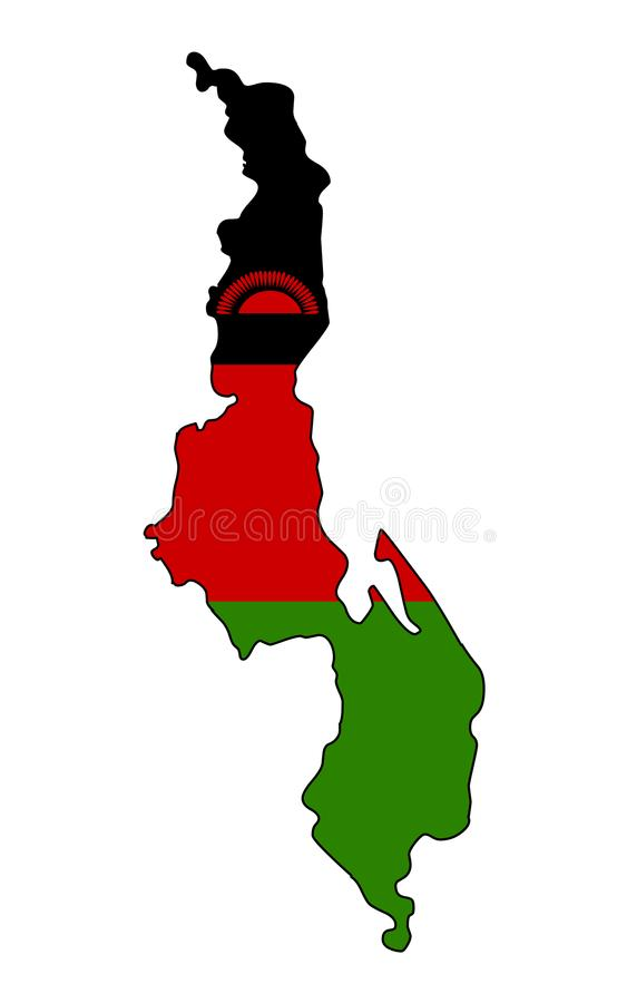 malawi Karte der Malawi-Vektorillustration stock abbildung