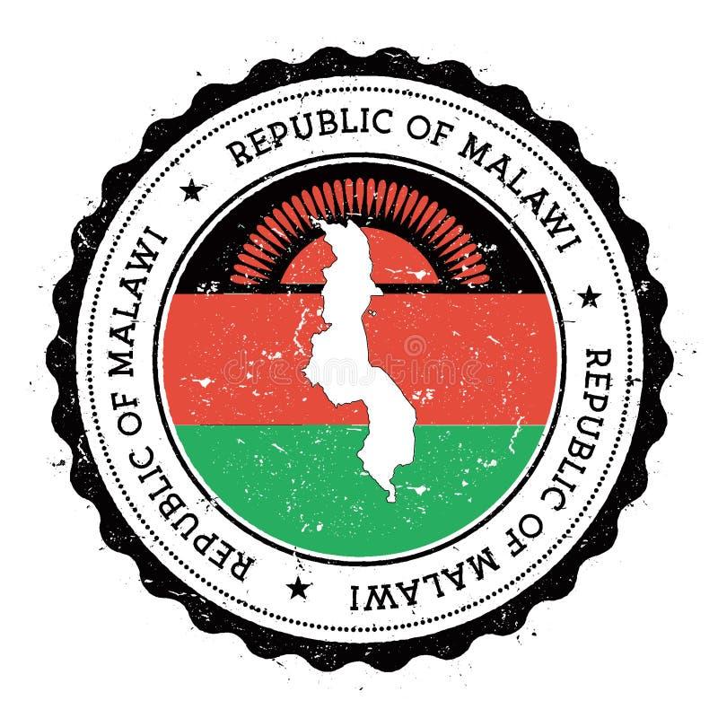 Malawi-Karte und -flagge im Weinlesestempel von stock abbildung