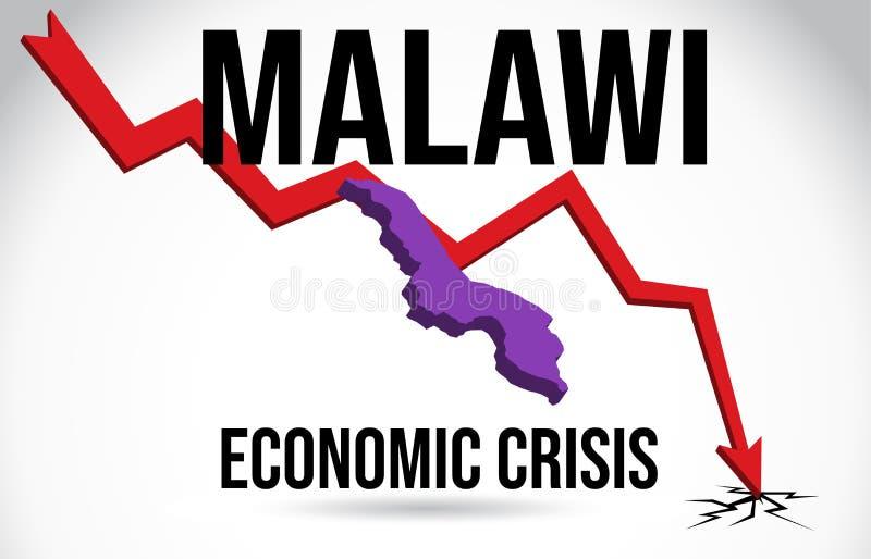 Malawi Map Financial Crisis Economic Collapse Market Crash Global Meltdown Vector. Illustration royalty free illustration