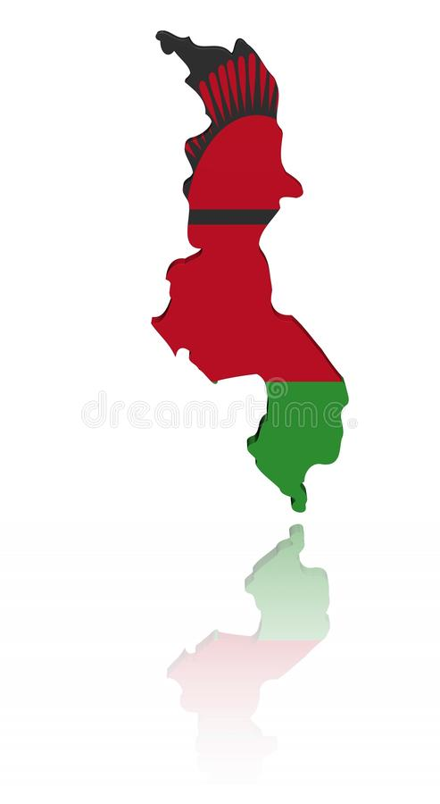 Malawi map flag with reflection