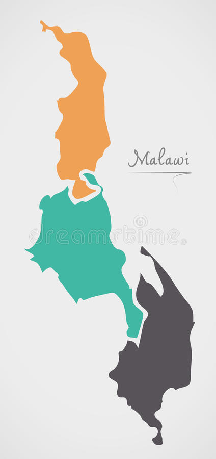 Malawi Map with states and modern round shapes. Illustration stock illustration