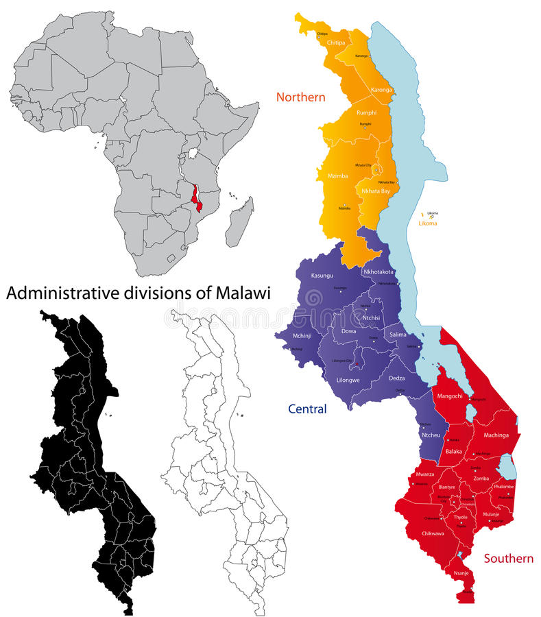 Malawi mapa ilustracji