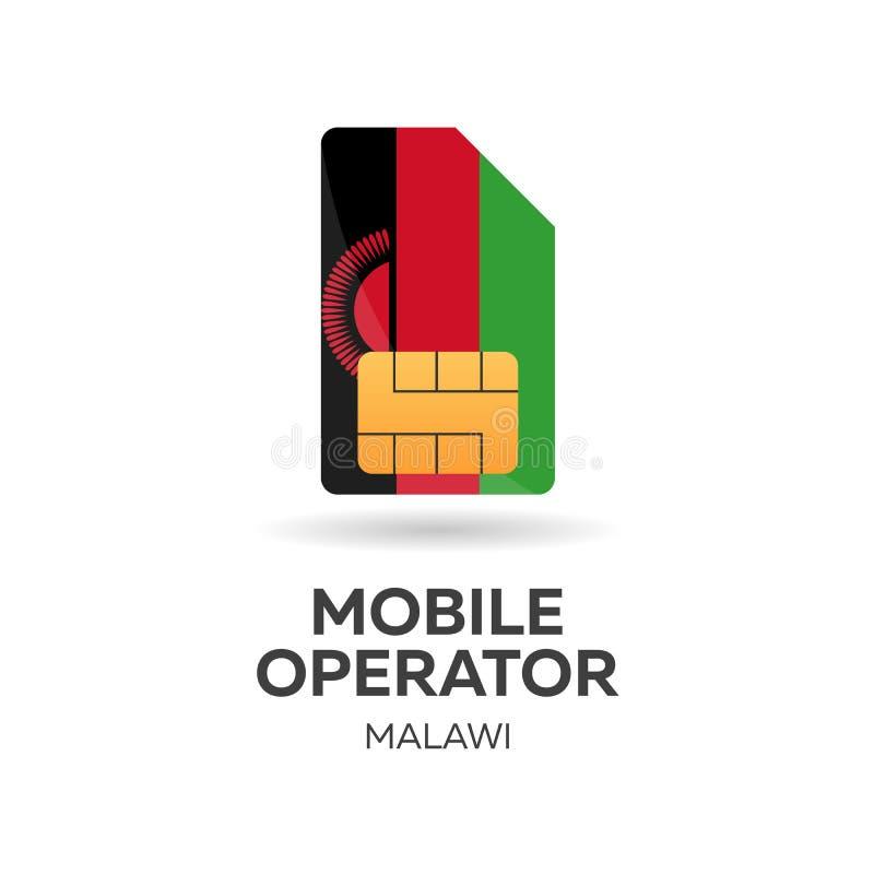Malawi mobiloperatör SIM-kort med flaggan också vektor för coreldrawillustration vektor illustrationer