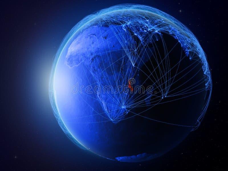 Malawi op blauwe Aarde met netwerk royalty-vrije illustratie